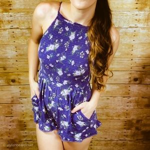 American Eagle Outfitters Romper Floral Blue XXS